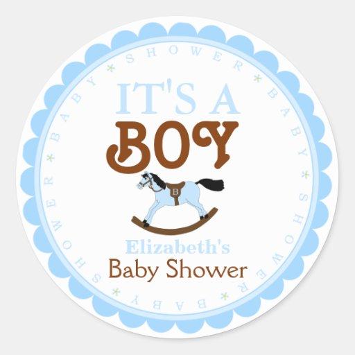 It S A Boy Baby Shower Favor Classic Round Sticker Zazzle