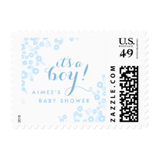 It's a Boy! Baby Shower Postage | Blue Floral
