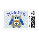 Its a Boy, Baby Shower, Postage Stamp, Cute Owl