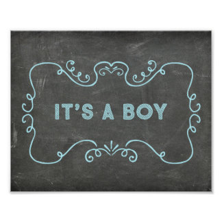 It's a Boy Baby Shower Sign Blue Chalkboard Poster