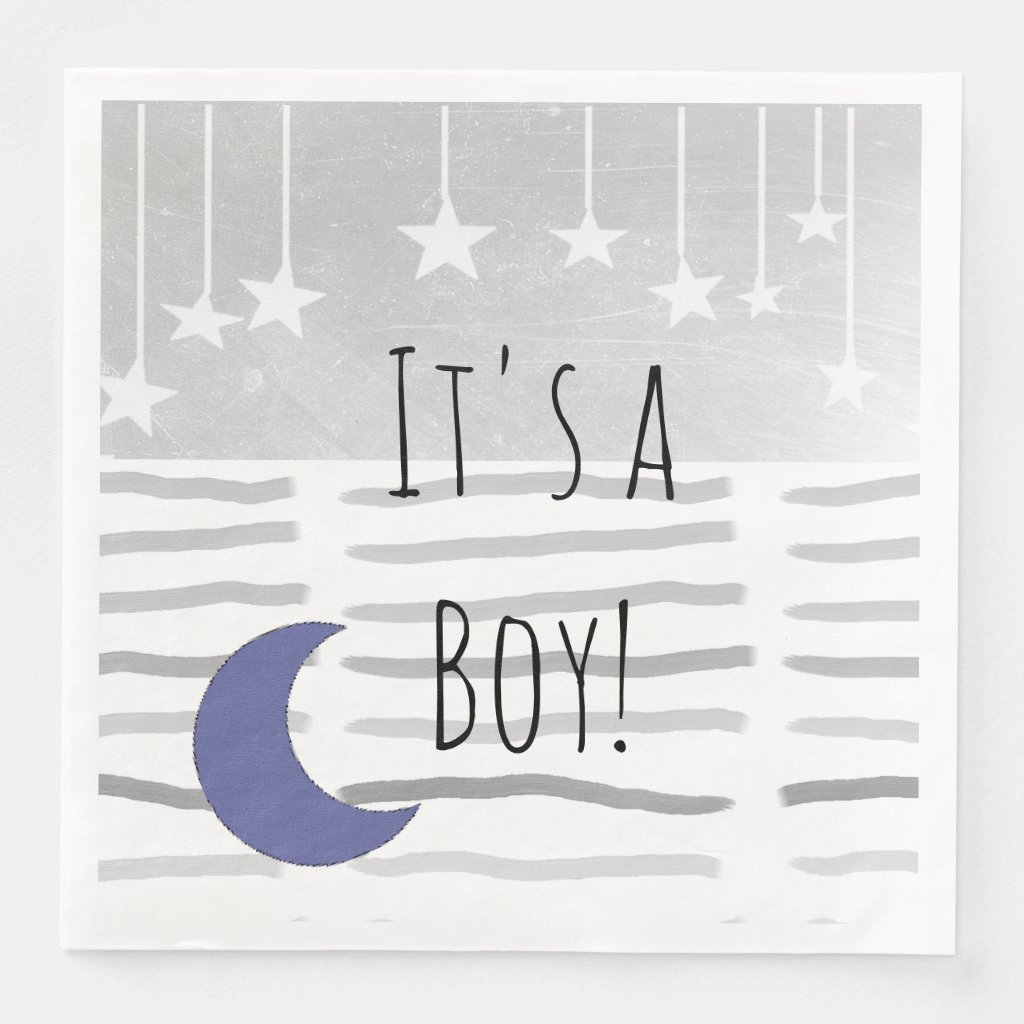 It's a Boy! Baby Shower Star and Moon Themed Paper Dinner Napkin