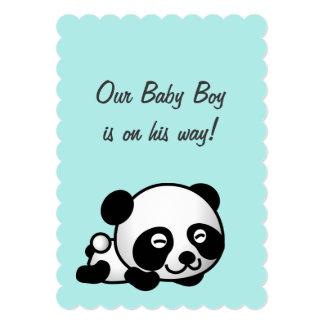 It's a boy Baby Shower | Sweet Happy Panda On Blue Card