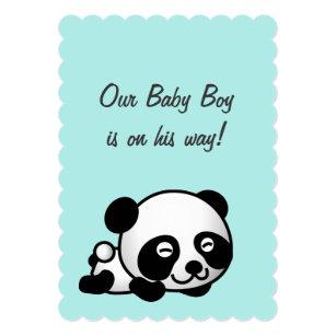 Blue panda baby shower invitations zazzle its a boy baby shower sweet happy panda on blue invitation filmwisefo