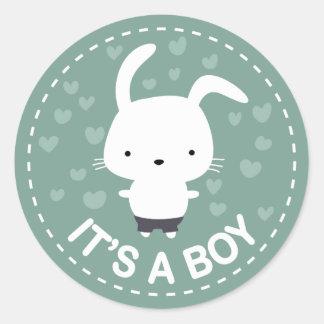 It's a Boy Baby Shower Teal Kawaii Bunny Sticker