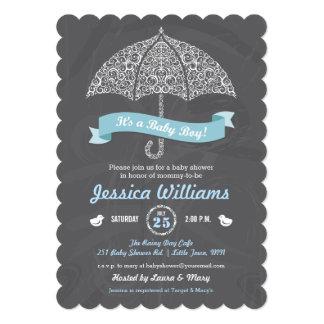 """It's a Boy Baby Shower Umbrella Chalkboard Invite 5"""" X 7"""" Invitation Card"""