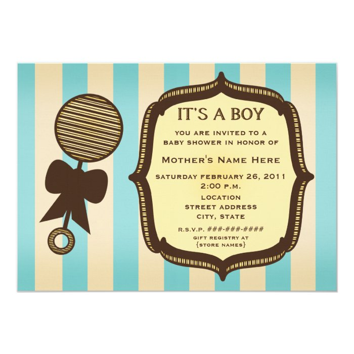 It's A Boy Baby Shower Vintage Rattle Blue Stripes Card