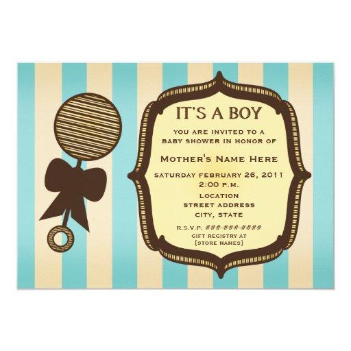 "It's A Boy Baby Shower Vintage Rattle Blue Stripes 5"" X 7"" Invitation Card"