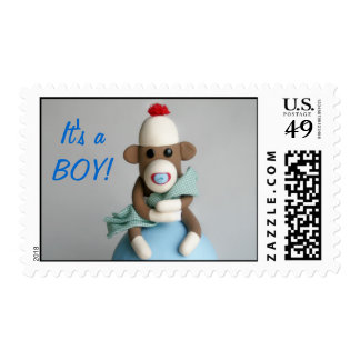 """It's a BOY!"" Baby Sock Monkey Announcement Postage"