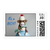"""It's a BOY!"" Baby Sock Monkey Announcement Postage"