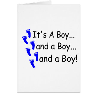 Its A Boy Baby Triplets Card