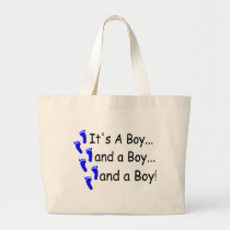 Its A Boy Baby Triplets Large Tote Bag