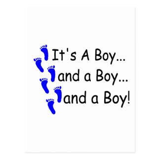 Its A Boy Baby Triplets Postcard