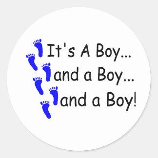 Its A Boy Baby Triplets Classic Round Sticker