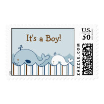It's A Boy Baby Whale Personalized Postage Stamps