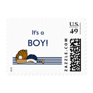 It's a boy baseball baby shower stamp