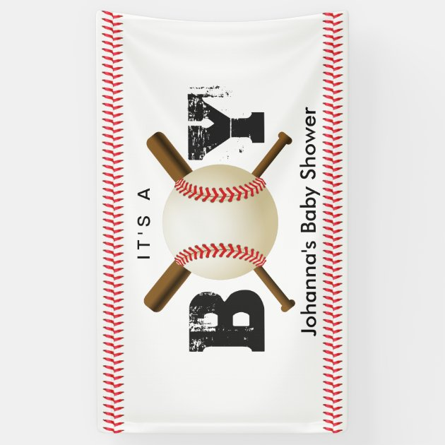 it u0026 39 s a boy baseball stitching sports baby shower banner