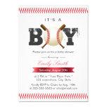 It's A Boy Baseball Stitching Sports Baby Shower Card at Zazzle