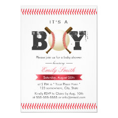 It's A Boy Baseball Stitching Sports Baby Shower Card at Zazzle