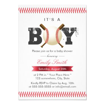 baby,or,expecting It's a Boy Baseball Stitching Sports Baby Shower Card