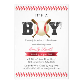 It's a Boy Baseball Stitching Sports Baby Shower 5x7 Paper Invitation Card