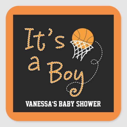 ITu0027S A BOY Basketball Baby Shower Party Sticker