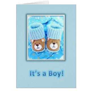 It's a boy! Bear booties Greeting Card