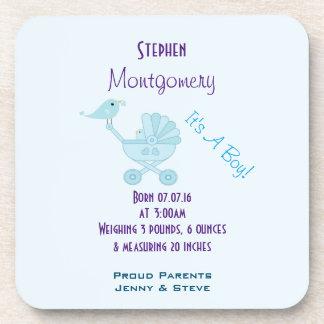 It's A Boy Birth Announcement Baby Bird Beverage Coaster