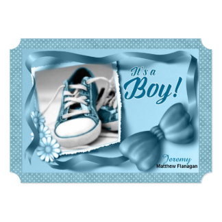 It's a Boy Birth Announcement in Blue Polka Dots