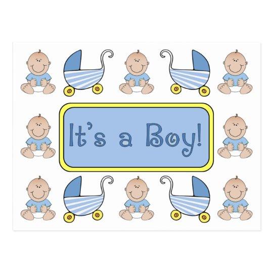"""It's a Boy!"" Birth Announcement Postcard"