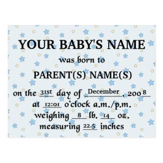 Its A Boy Birth Announcement Postcard