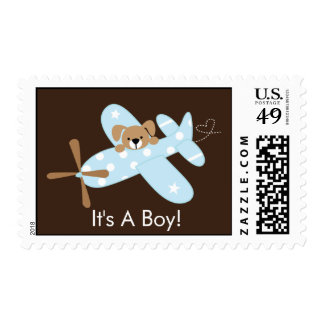 It's a Boy Blue Airplane Birth Announcement Stamp