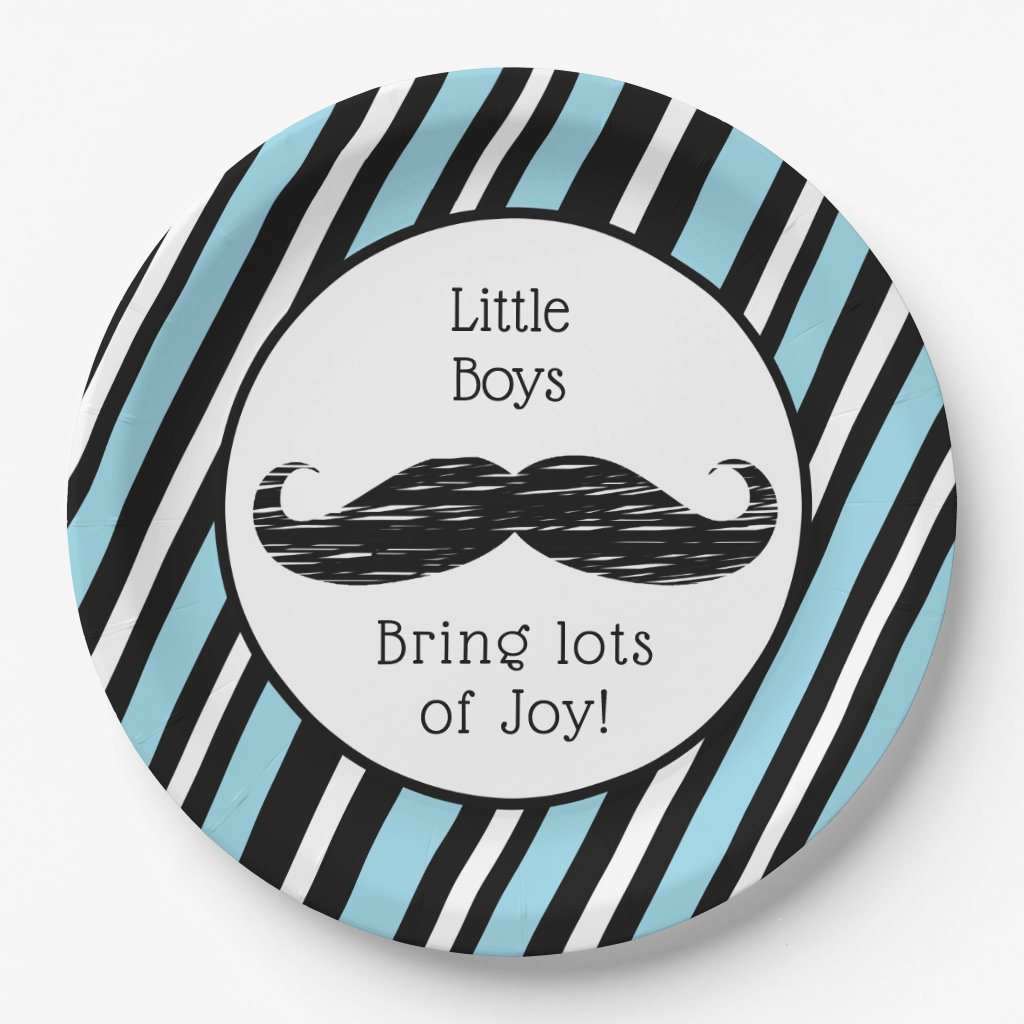 Its a boy, Blue and Black Mustache Baby Shower