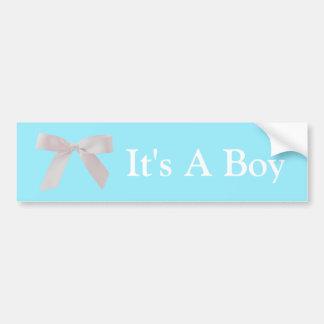 It's A Boy Blue and White Ribbon Bow Bumper Sticker