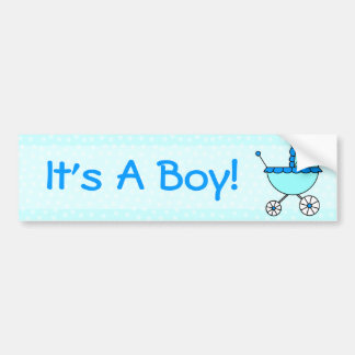It's A Boy! Blue Baby Carriage Bumper Sticker