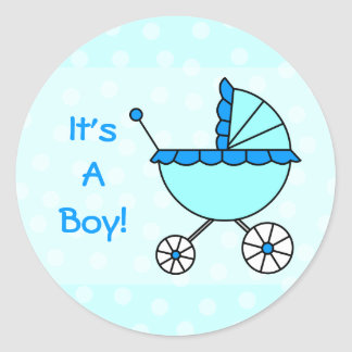 It's A Boy! Blue Baby Carriage Classic Round Sticker