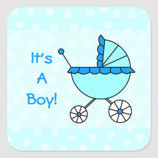 It's A Boy! Blue Baby Carriage Square Sticker