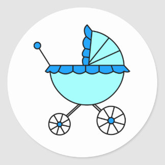 It's A Boy! Blue Baby Carriage Stickers