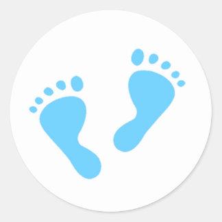 It's a Boy - Blue Baby Feet Classic Round Sticker