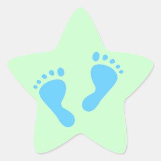 It's a Boy - Blue Baby Feet Star Sticker