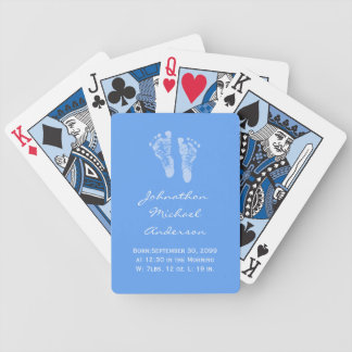 Its a Boy Blue Baby Footprints Birth Announcement Bicycle Playing Cards