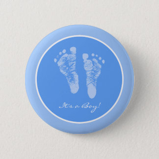 Its a Boy Blue Baby Footprints Birth Announcement Button