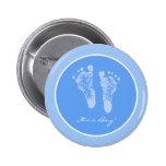 Its a Boy Blue Baby Footprints Birth Announcement 2 Inch Round Button