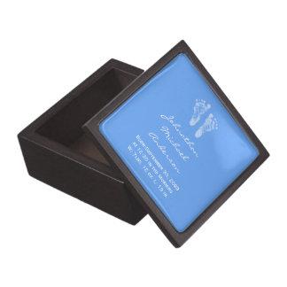 Its a Boy Blue Baby Footprints Birth Announcement Keepsake Box