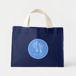 Its a Boy Blue Baby Footprints Birth Announcement Mini Tote Bag