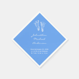 Its a Boy Blue Baby Footprints Birth Announcement Napkin