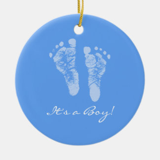 Its a Boy Blue Baby Footprints Birth Announcement Christmas Tree Ornaments