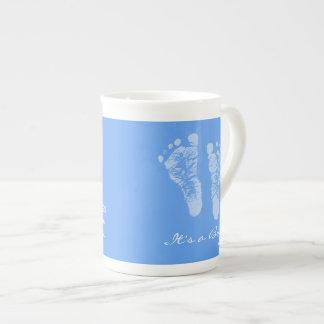 Its a Boy Blue Baby Footprints Birth Announcement Tea Cup
