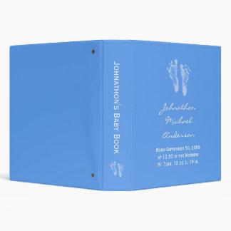 Its a Boy Blue Baby Footprints Birth Scrapbook 3 Ring Binder