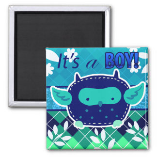"""""""It's a boy"""" Blue Baby Owl 2 Inch Square Magnet"""