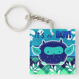 """It's a boy"" Blue Baby Owl Acrylic Keychain"